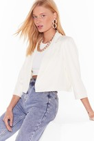 Womens This Means Business Cropped Tailored Blazer - white - 12