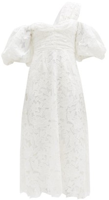Self-Portrait Off-the-shoulder Giupure-lace Midi Dress - White