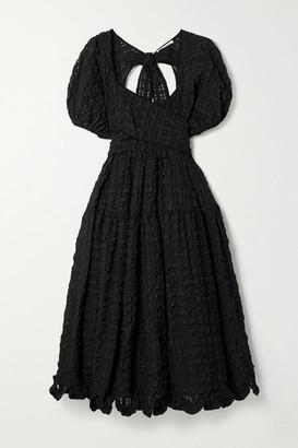 Cecilie Bahnsen Maya Open-back Wrap-effect Seersucker Midi Dress - Black