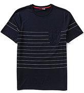 Murano San Francisco Collection Short Sleeve Slim-Fit Liquid Luxury Stripe Pocket Crew