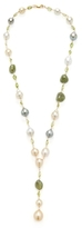Tahitian Pearl, South Sea Pearl & Green Sapphire Y Drop Necklace