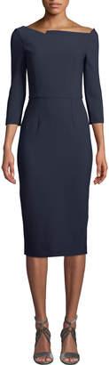 Roland Mouret Witham 3/4-Sleeve Asymmetric Boat-Neck Dress