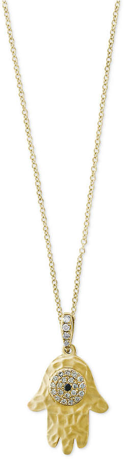 Effy Caviar by Diamond Accent Hamsa Hand Pendant Necklace in 14k Gold