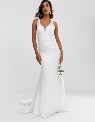 Asos Edition EDITION embellished lace bodice wedding dress with crepe skirt-White