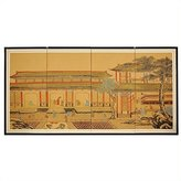 Oriental Furniture Asian Home Decor and Gifts, 36 by 72-Inch Dynasty Courtyard Chinese Brush Art Wall Screen Painting
