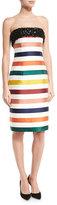 Carolina Herrera Strapless Striped Beaded Cocktail Dress, Multicolor