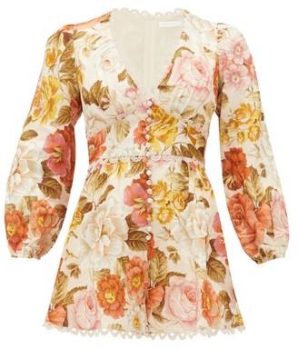 Zimmermann Bonita Floral-print Linen Playsuit - Cream Print