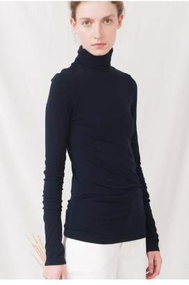 Beaumont Organic Tricia Roll Neck Top - L / Navy - Blue