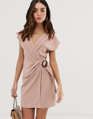Asos Design DESIGN wrap mini dress with buckle-Pink