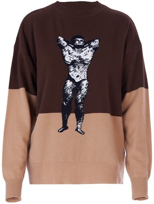 BEIGE Acephala Unisex Bodybuilder Jumper Brown &