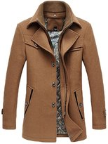 NiSeng Men's Winter Trench Coat Mutipocket Wool Blend Pea Coats