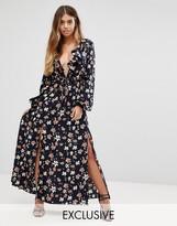 Boohoo Bell Sleeve V Neck Maxi Dress