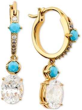 Eliot Danori 18k Gold-Plated Cubic Zirconia & Stone Charm Hoop Earrings, Created for Macy's