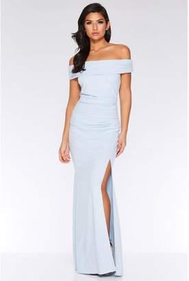 Quiz Light Blue Bardot Ruched Split Maxi Dress