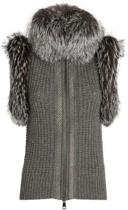 William Sharp Cashmere Fox Fur-Trim Gilet