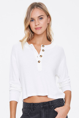 Forever 21 Waffle Knit Henley Top