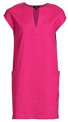 Theory Saturina Linen-Blend Shift Dress