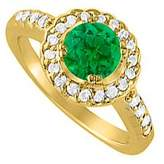 LoveBrightJewelry May Created Emerald and Cubic Zirconia April Birthstone Halo Engagement Ring 18K Yellow Gold Vermeil