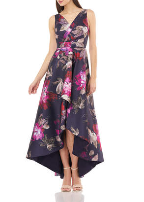 Carmen Marc Valvo Floral Printed Sleeveless High-Low Wrap Dress