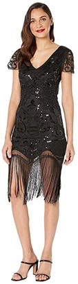 Unique Vintage 1920s Style Beaded Fringe Aurore Flapper Dress (Black) Women's Dress