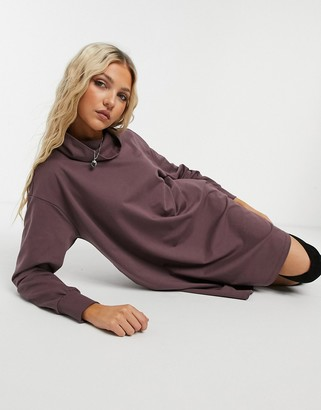 ASOS DESIGN cowl neck swing sweat dress with pockets in dark grape