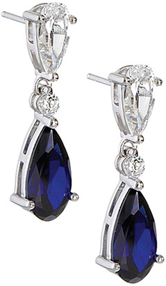 Crislu Silver & Platinum Cz Drop Earrings