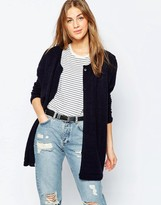 Asos Boyfriend Cardigan With Crew Neck In Soft Yarn