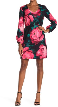 trina Trina Turk Aymeli Floral Long Sleeve Sheath Dress