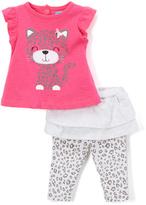 Bon Bebe Pink Kitty Tee & Gray Leopard Skirted Leggings - Infant