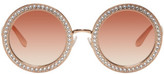 Dolce & Gabbana Rose Gold Round Crystal Sunglasses