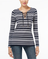 MICHAEL Michael Kors Ardenn Striped Lace-Up Tunic