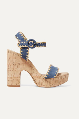 Tabitha Simmons Elena Whipstitched Raffia And Suede Platform Sandals - Navy