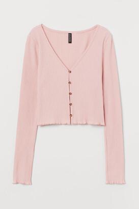 H&M Ribbed Jersey Cardigan - Pink