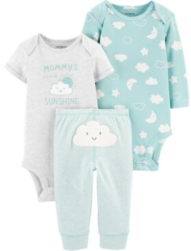 Carter's Baby Boys or Girls 3-Pc. Cloud & Sunshine Cotton Bodysuits & Pants Set