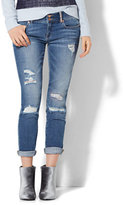 New York & Co. Soho Jeans - Boyfriend - Embellished Rip & Repair - Indigo Blue Wash