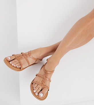 New Look Wide Fit leather strap sandals in tan