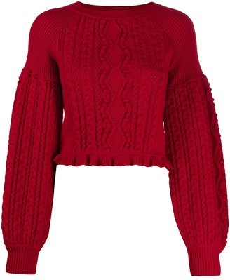 Ports 1961 Balloon-Sleeve Cable Knit Sweater