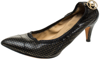 Chanel Black/Gold Polka Dot Leather Scrunch Pumps Size 38