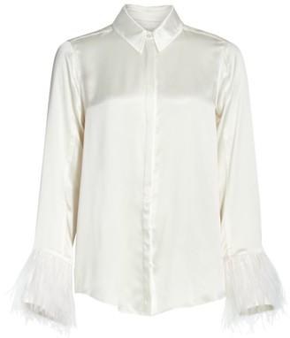 Cinq à Sept Elisha Feather Bell-Sleeve Silk Blouse