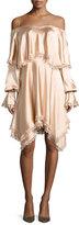 Jonathan Simkhai Off-the-Shoulder Long-Sleeve Fluid Sateen Short Dress