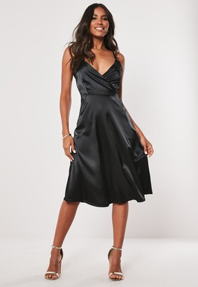 Missguided Tall Black Satin Sleeveless Midi Dress