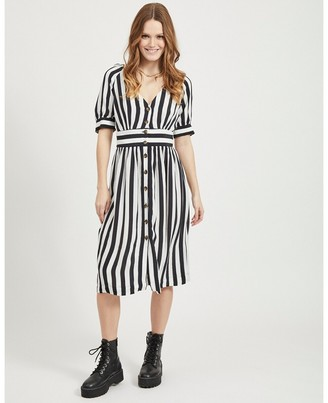Vila Striped Button-Through Midi Dress with Short Sleeves
