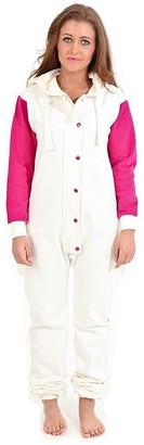 Juicy Trendz Womens Ladies Onesie Jumpsuit Playsuit All in One Piece Unisex Sleepsuits Cream-Pink