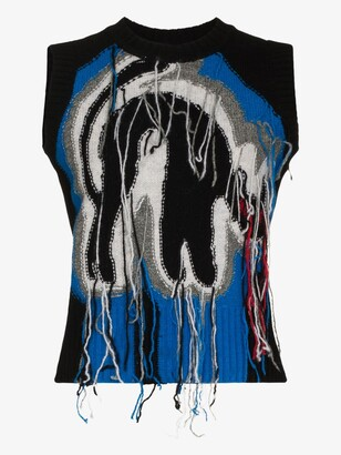 Charles Jeffrey Loverboy Blue Guddle Tasselled Wool Sweater Vest