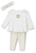 Baby Starters Ivory & Gold Flower Top & Leggings Set - Infant