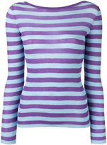Ermanno Scervino striped V-neck jumper - women - Cotton/Polyamide - 42