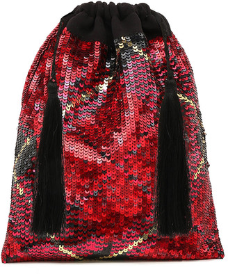 ATTICO Tasseled Checked Sequined Gauze Pouch