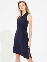 Halston Asymmetric Wrap Jersey Dress