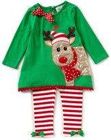 Rare Editions Big Girls 7-10 Christmas Reindeer Top & Striped Leggings Set
