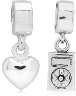 Rhona Sutton 4 Kids Children's Music Love Drop Charms - Set of 2 in Sterling Silver